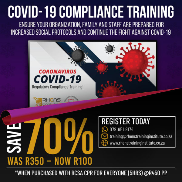 Covid- 19 Compliance R100 When Purchased With RCSA CPR For Everyone (combo)